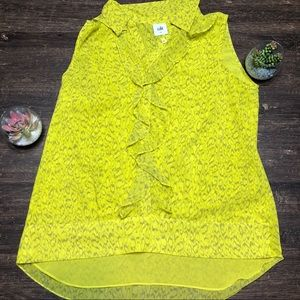 CAbi ruffle  Neon sleeveless Print Blouse Small